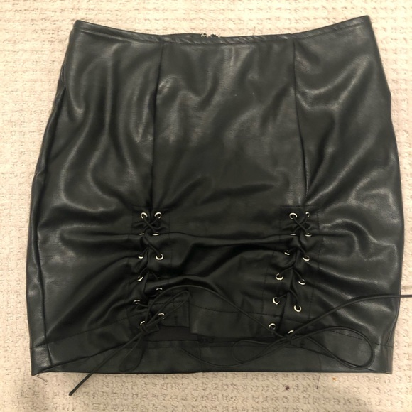 Meshki faux leather skirt with lace detail